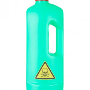 Plastic bottle cleaning-detergent, poisonous